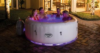 SaluSpa Paris AirJet Inflatable Hot Tub w LED Light Show Featured