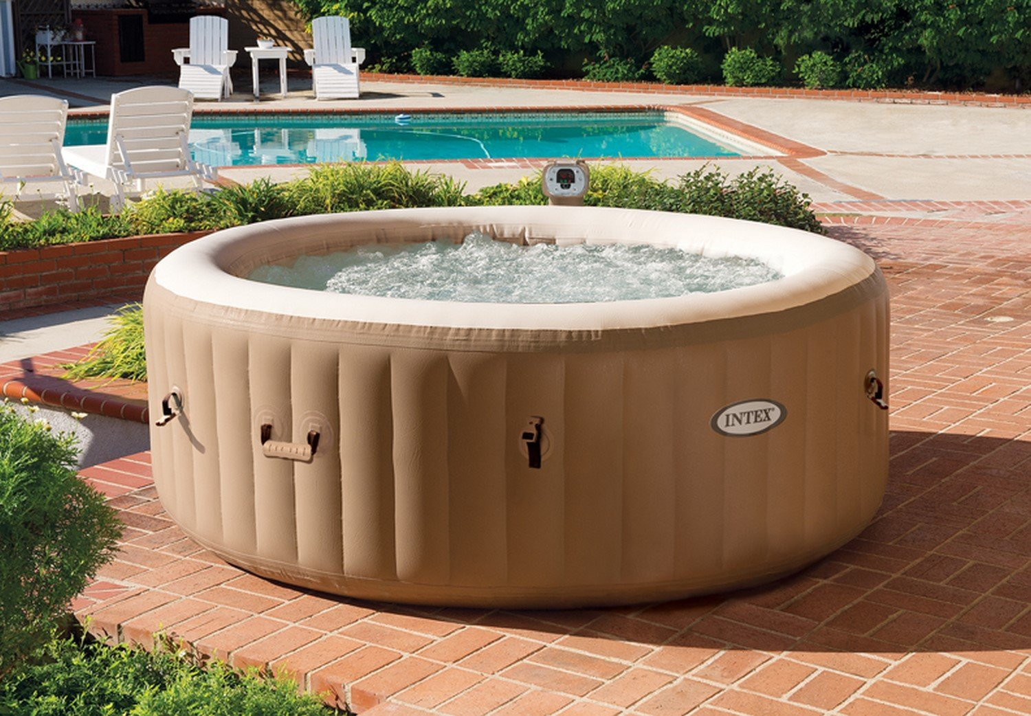 intex 4 person purespa inflatable hot tub detailed review laze up. Black Bedroom Furniture Sets. Home Design Ideas