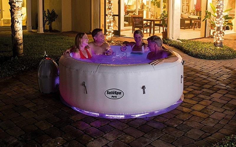 Saluspa Paris Airjet Inflatable Hot Tub W Led Light Show